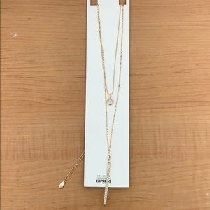Cubic Zirconia Layered Gold Necklace